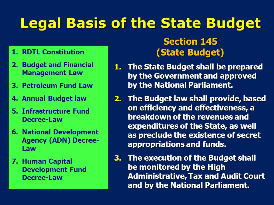 Legal Basis of the State Budget