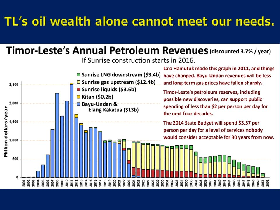 TL's oil wealth alone cannot meet our needs.