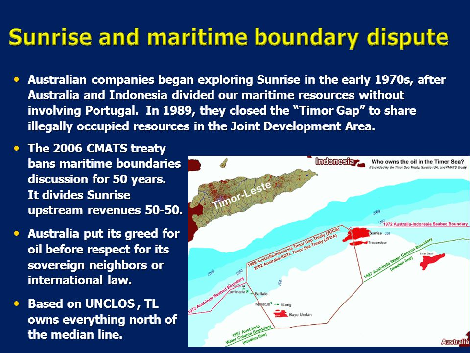 Sunrise and maritime boundary dispute