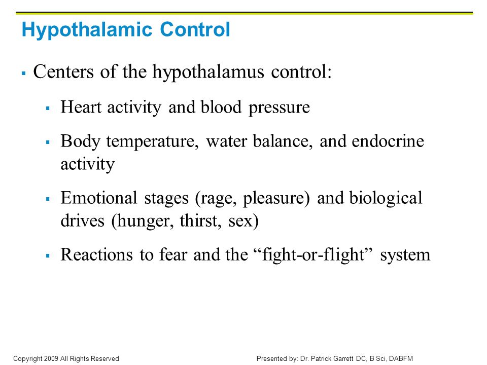 Centers of the hypothalamus control: