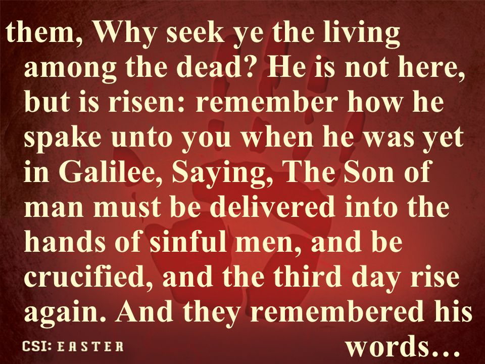 them, Why seek ye the living among the dead