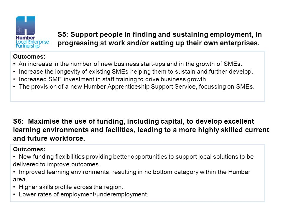 S5: Support people in finding and sustaining employment, in
