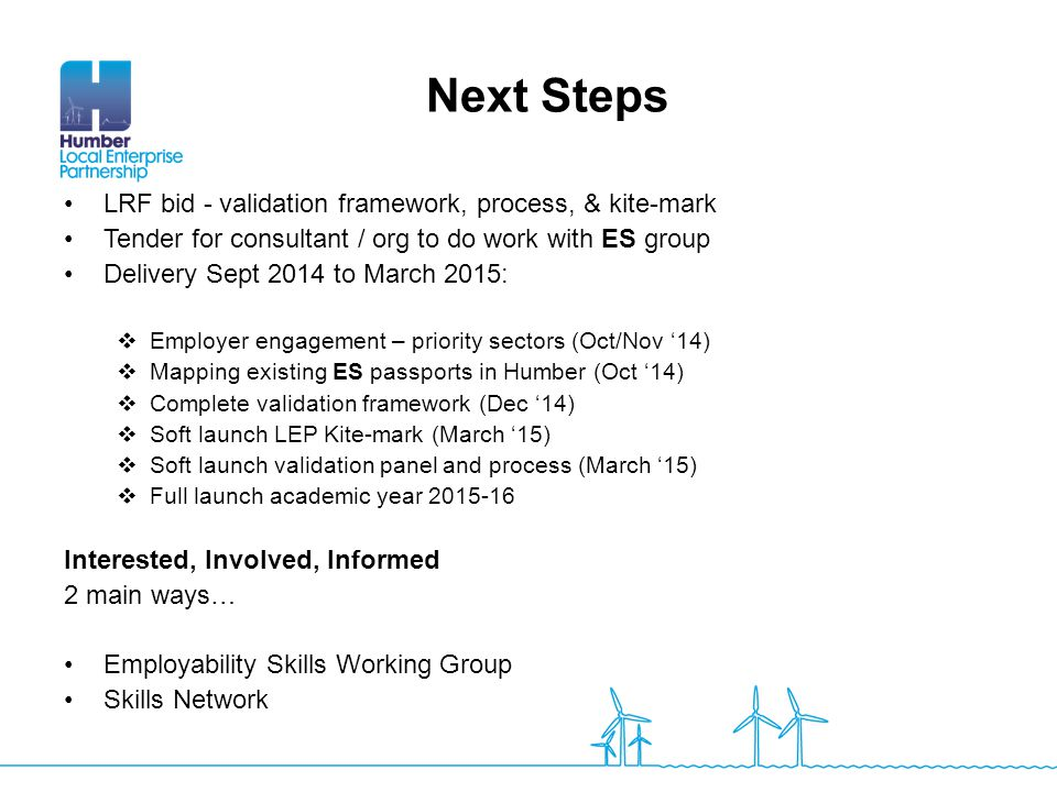 Next Steps LRF bid - validation framework, process, & kite-mark