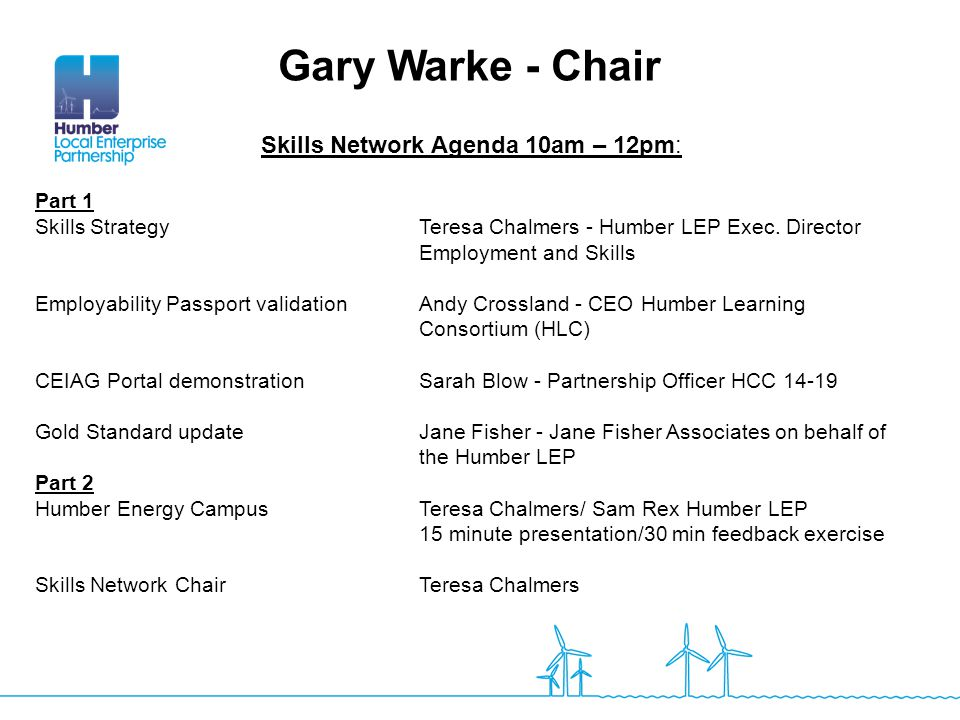Skills Network Agenda 10am – 12pm: