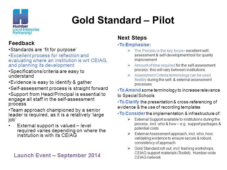 Gold Standard – Pilot Next Steps Feedback