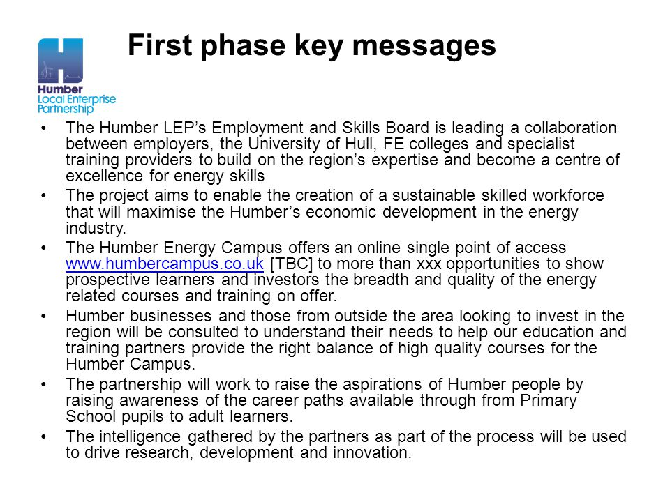 First phase key messages