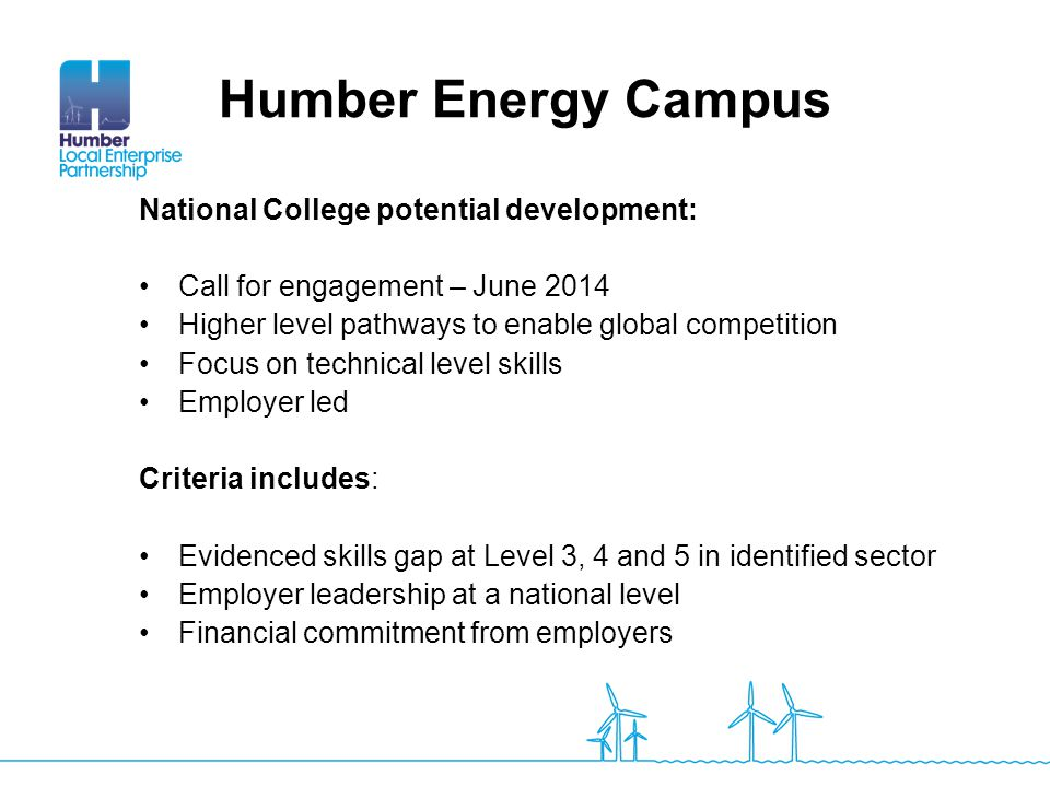 Humber Energy Campus National College potential development: