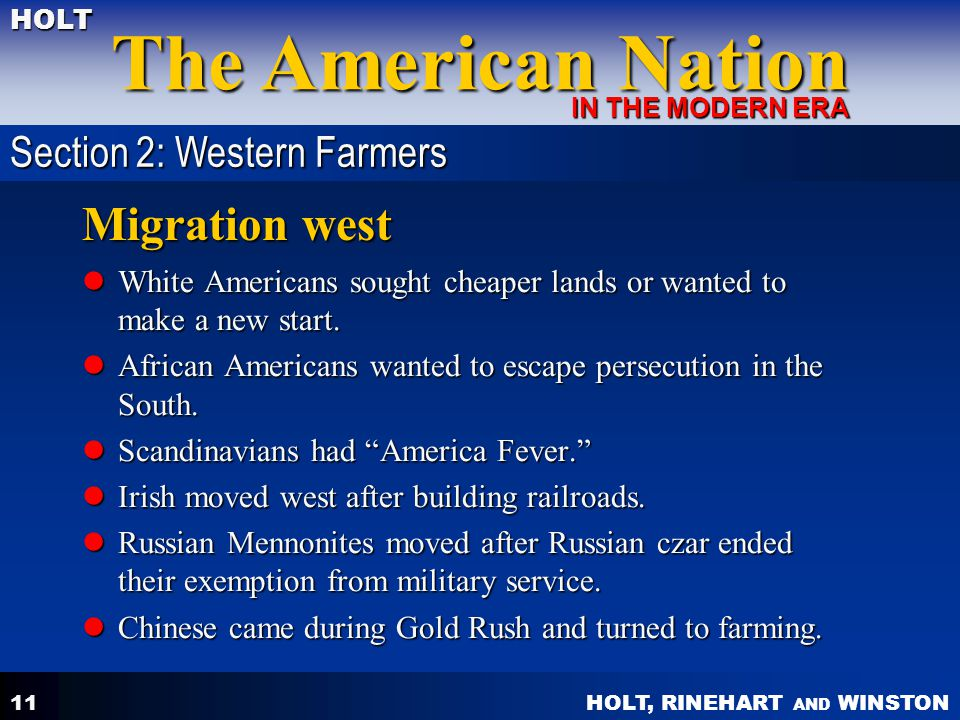 Migration west Section 2: Western Farmers