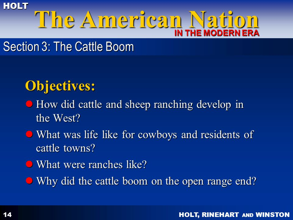 Objectives: Section 3: The Cattle Boom