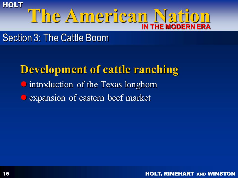 Development of cattle ranching