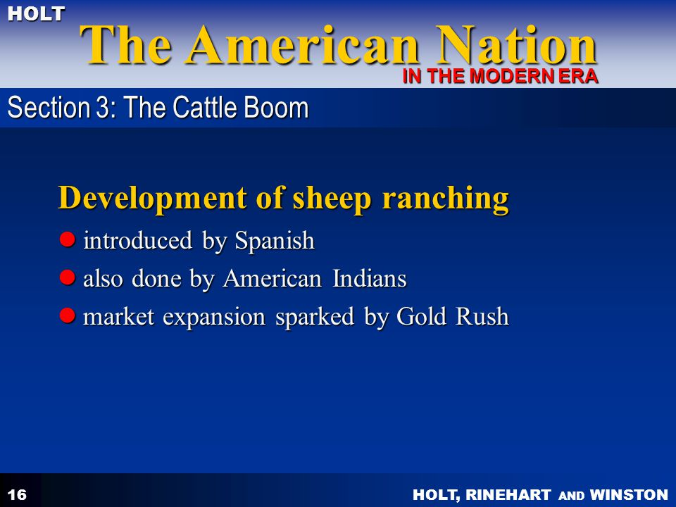 Development of sheep ranching