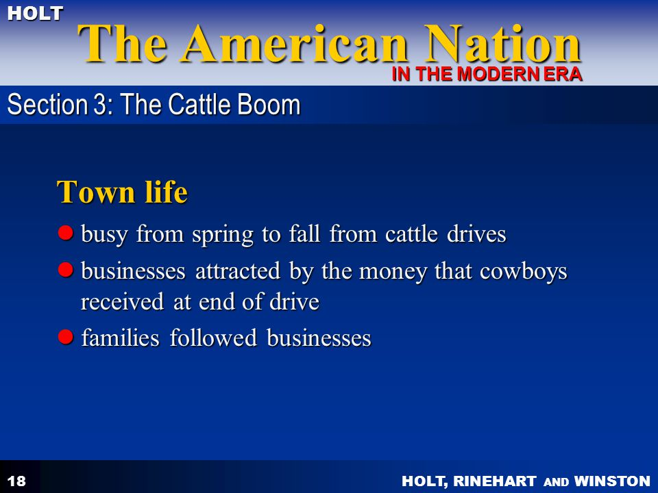Town life Section 3: The Cattle Boom