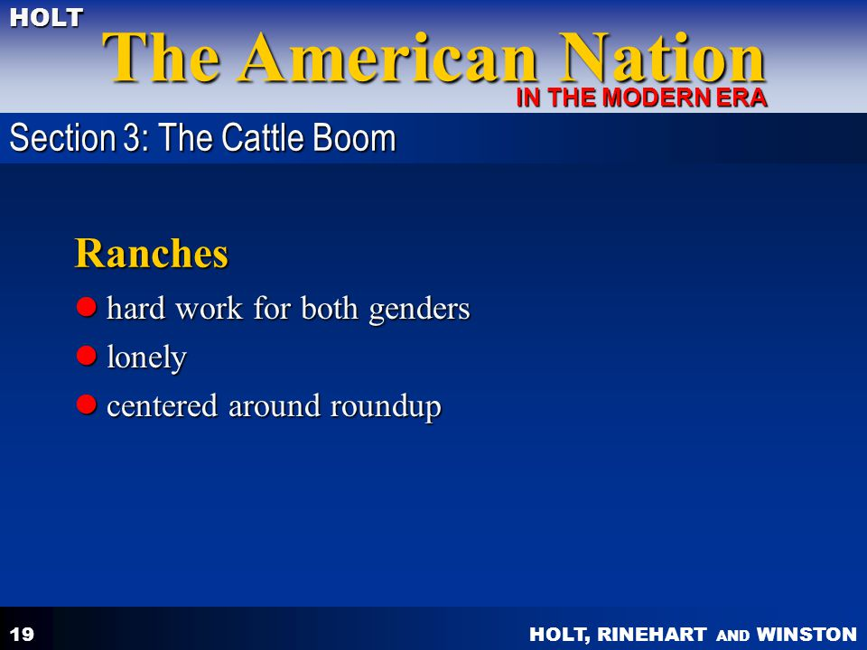 Ranches Section 3: The Cattle Boom hard work for both genders lonely