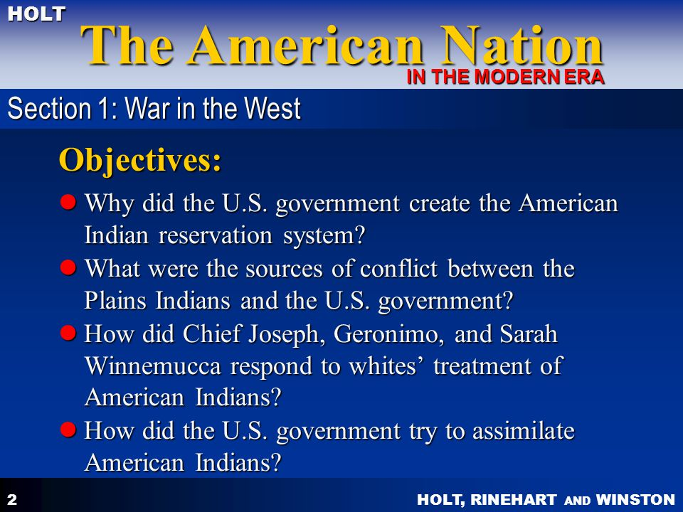 Objectives: Section 1: War in the West