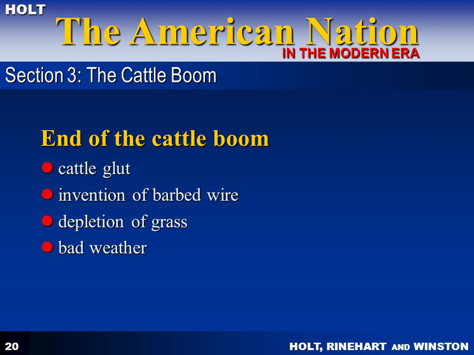 End of the cattle boom Section 3: The Cattle Boom cattle glut