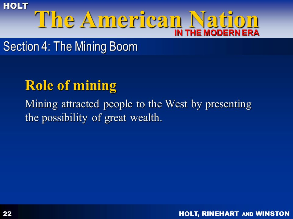 Role of mining Section 4: The Mining Boom