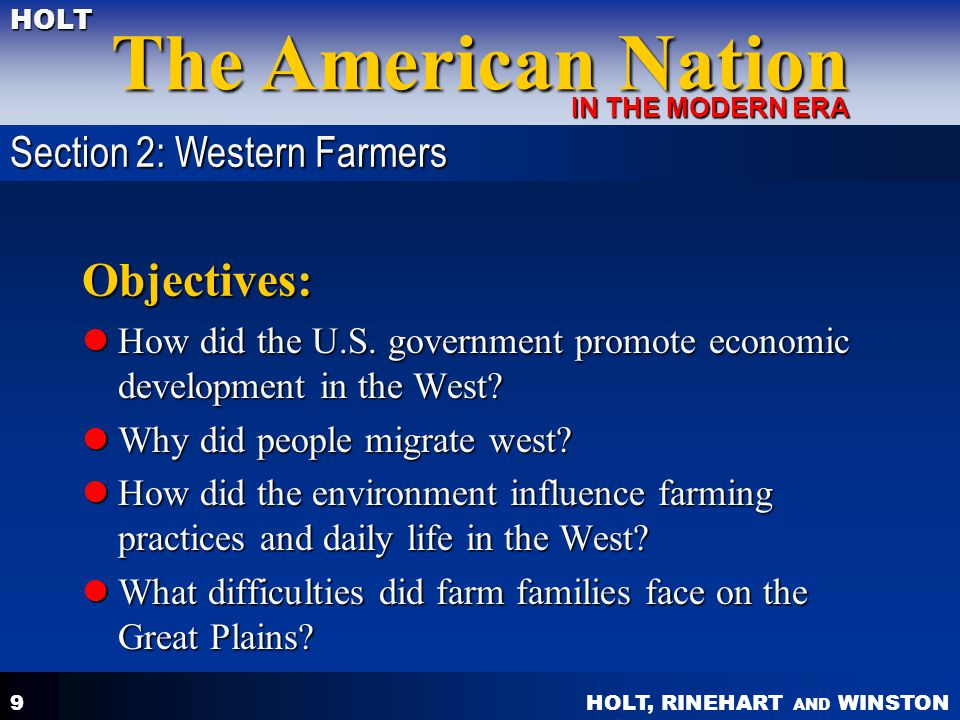 Objectives: Section 2: Western Farmers