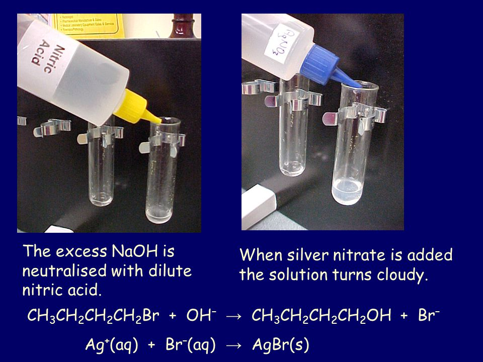 The excess NaOH is neutralised with dilute nitric acid.