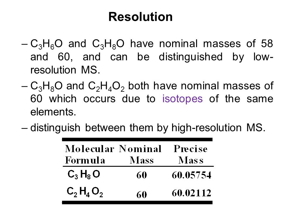 Resolution C3H6O and C3H8O have nominal masses of 58 and 60, and can be distinguished by low-resolution MS.