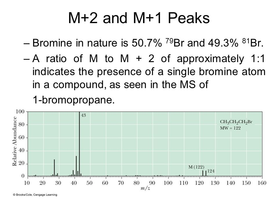 M+2 and M+1 Peaks Bromine in nature is 50.7% 79Br and 49.3% 81Br.