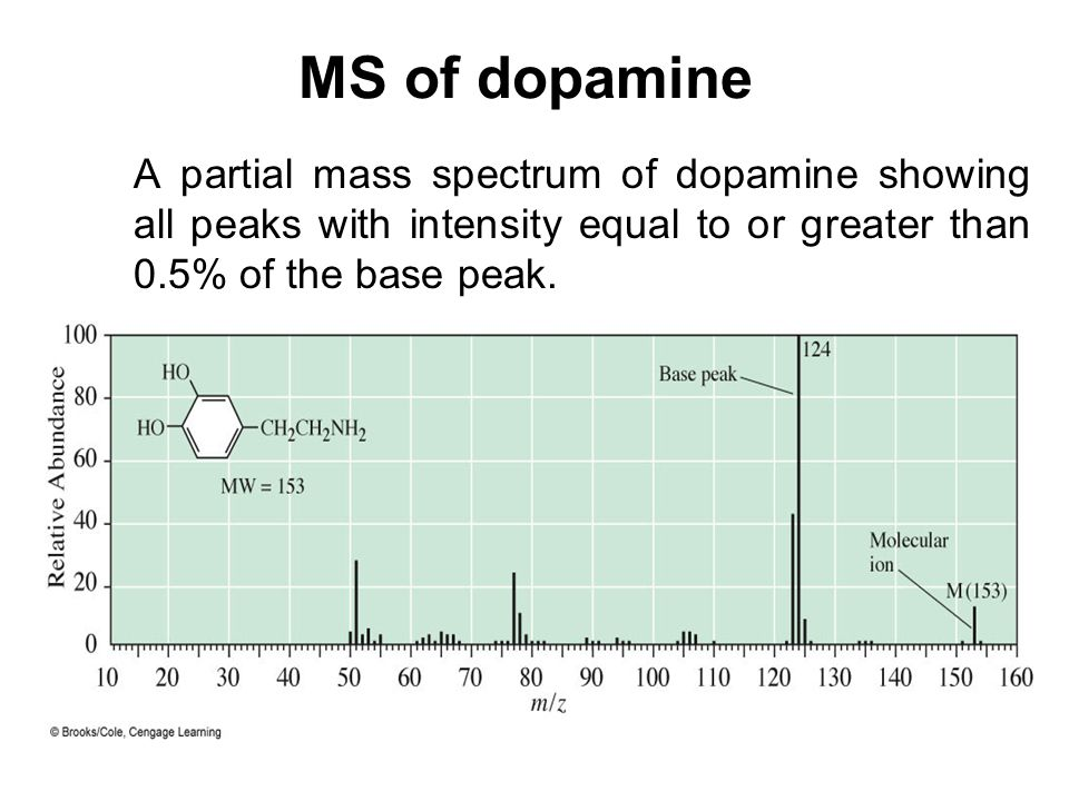 MS of dopamine A partial mass spectrum of dopamine showing all peaks with intensity equal to or greater than 0.5% of the base peak.