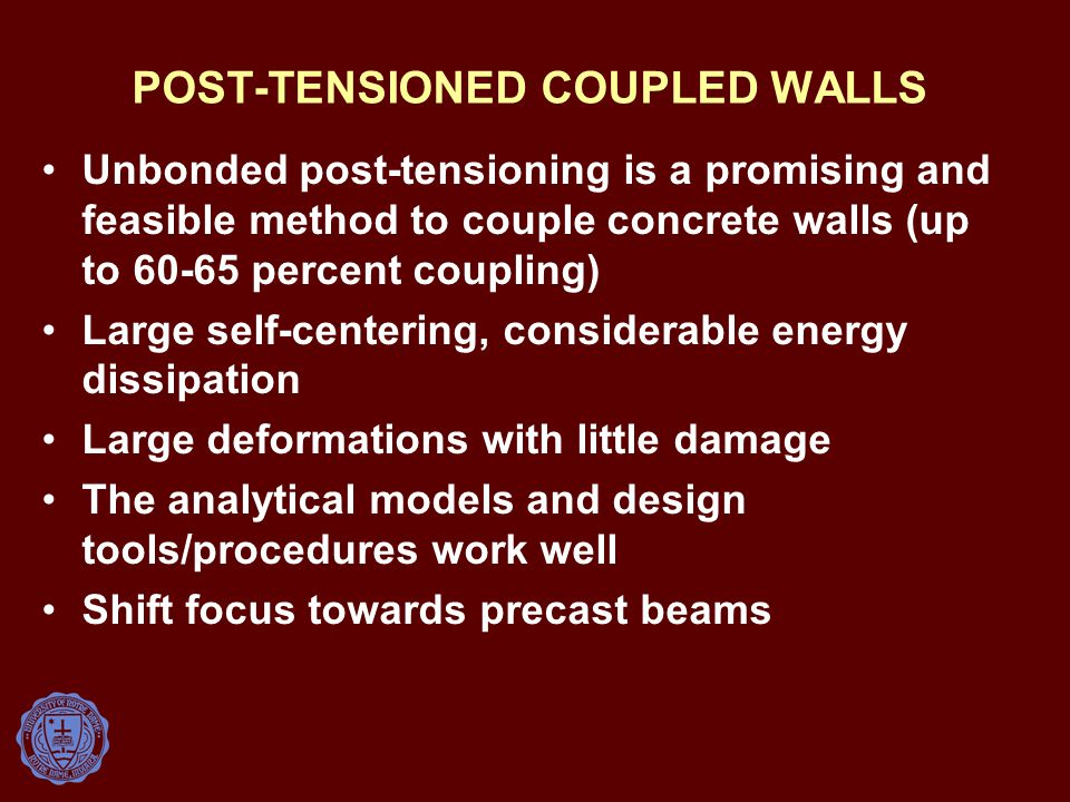 POST-TENSIONED COUPLED WALLS