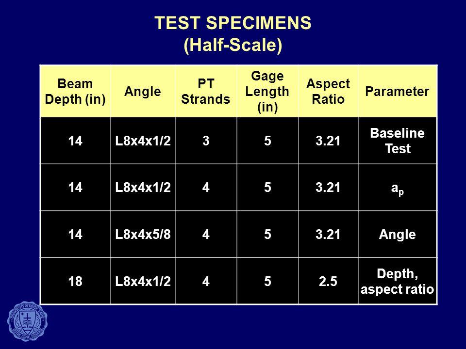 TEST SPECIMENS (Half-Scale)