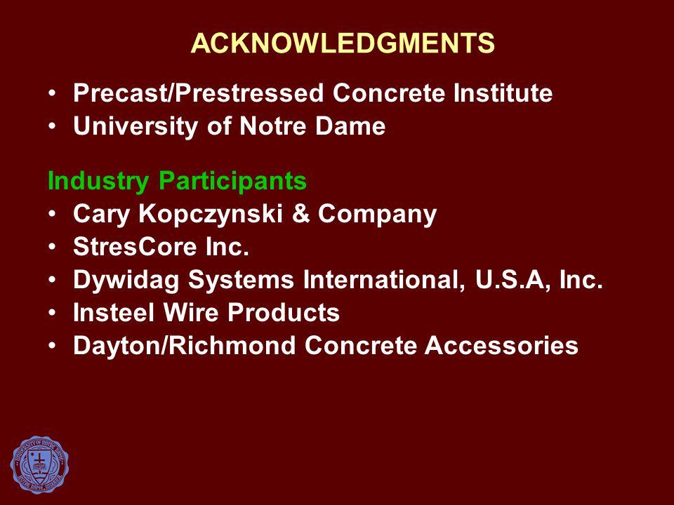 ACKNOWLEDGMENTS Precast/Prestressed Concrete Institute