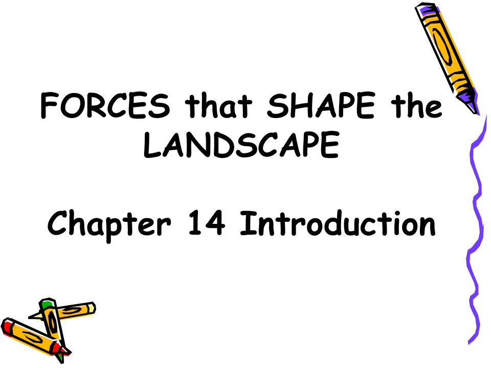 FORCES that SHAPE the LANDSCAPE Chapter 14 Introduction