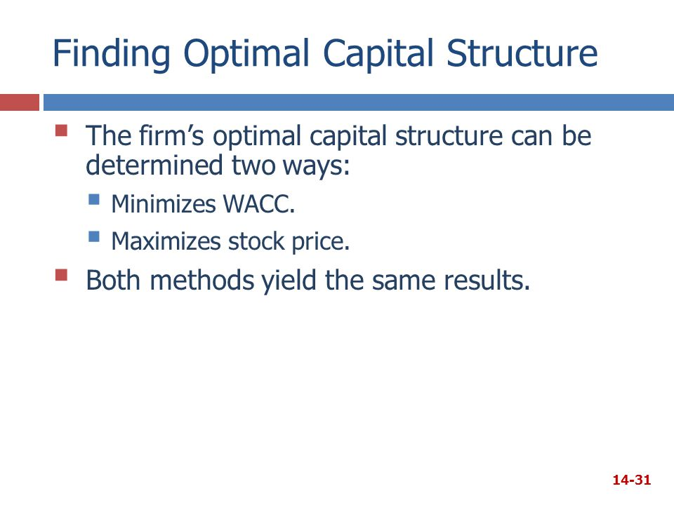 Finding Optimal Capital Structure