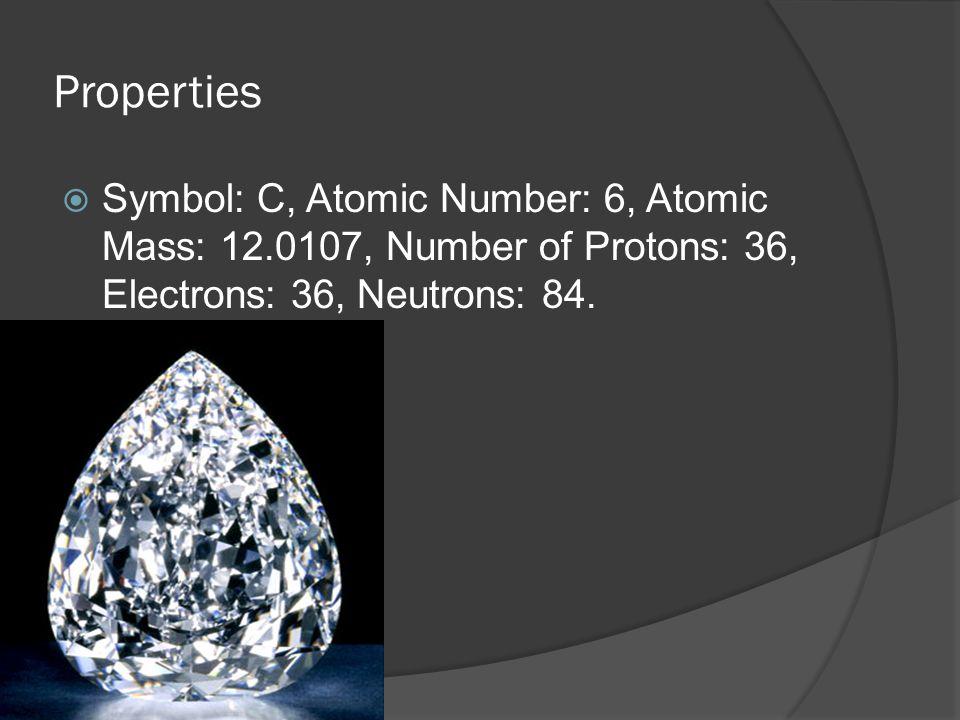Properties Symbol: C, Atomic Number: 6, Atomic Mass: 12.0107, Number of Protons: 36, Electrons: 36, Neutrons: 84.