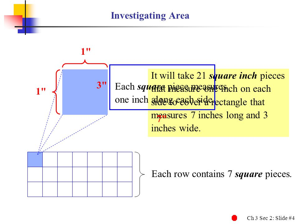 Investigating Area 1 It will take 21 square inch pieces. that measure one inch on each. side to cover a rectangle that.