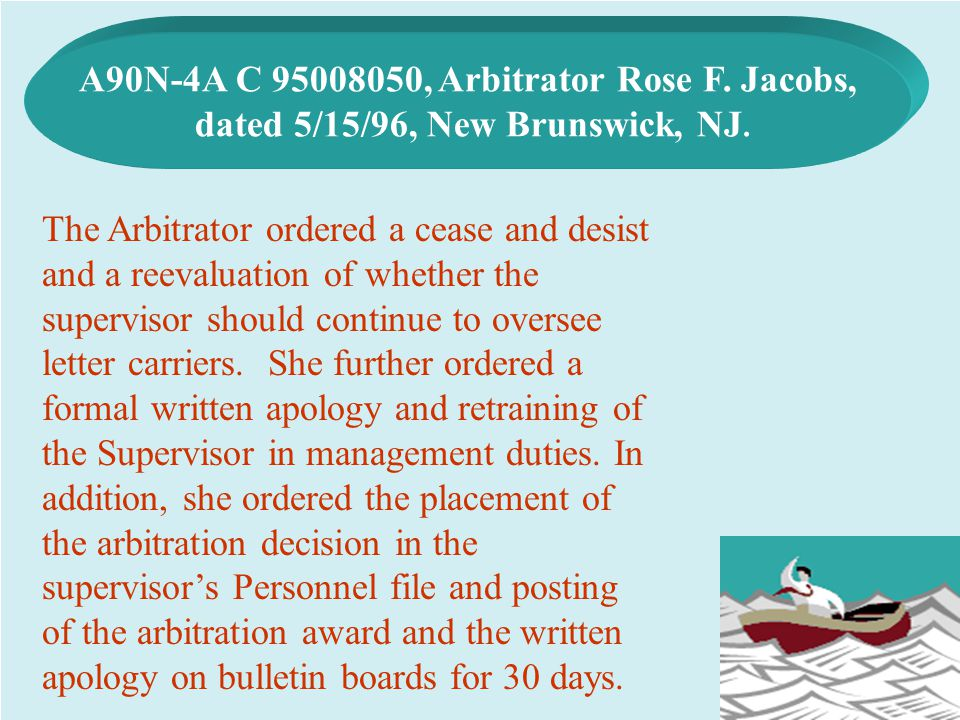 A90N-4A C 95008050, Arbitrator Rose F. Jacobs,