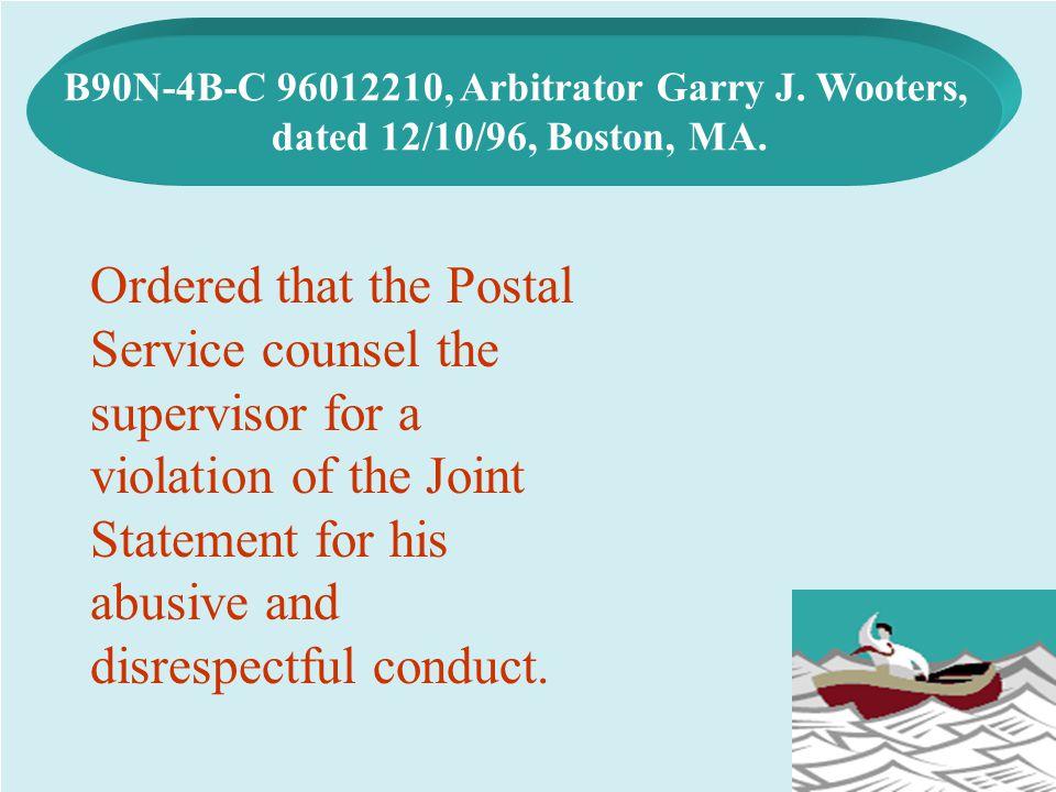 B90N-4B-C 96012210, Arbitrator Garry J. Wooters,