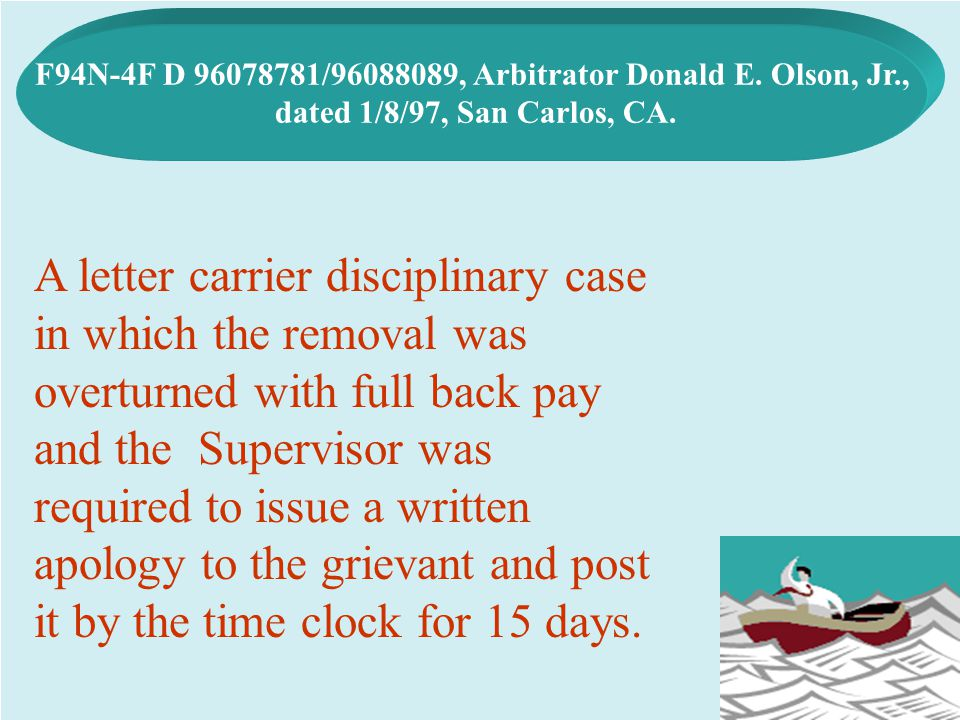 F94N-4F D 96078781/96088089, Arbitrator Donald E. Olson, Jr.,