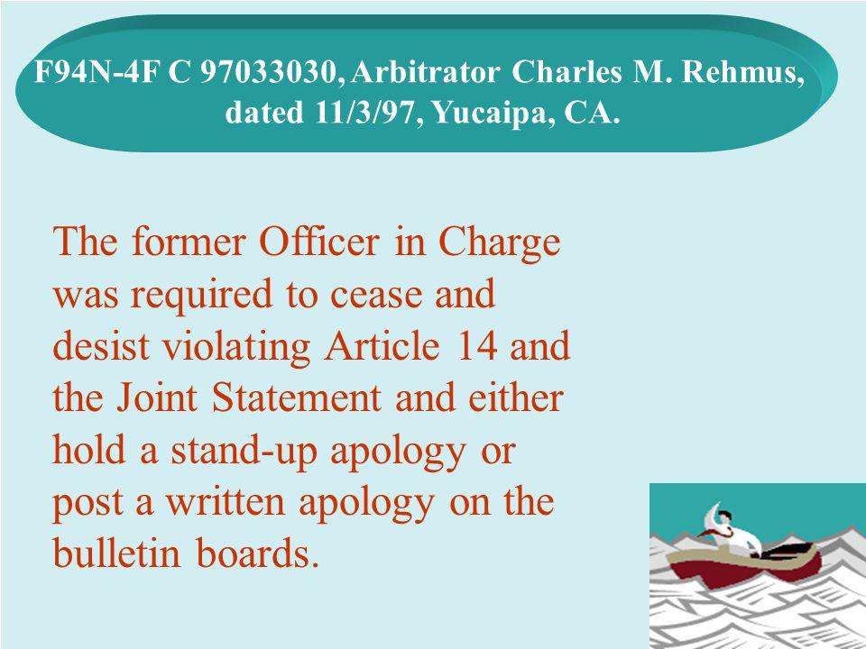 F94N-4F C 97033030, Arbitrator Charles M. Rehmus,