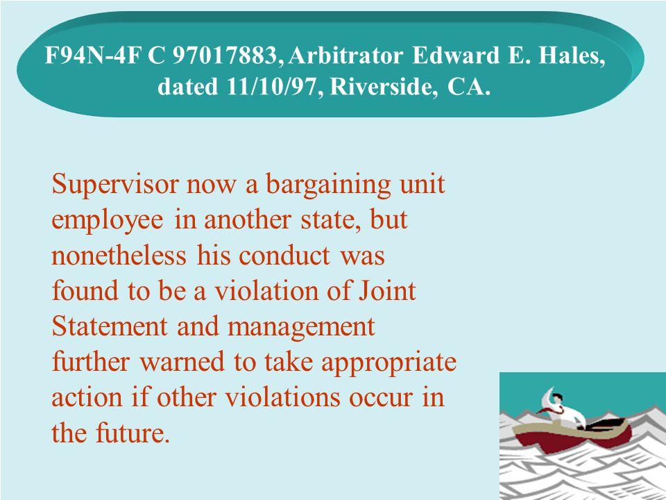 F94N-4F C 97017883, Arbitrator Edward E. Hales,