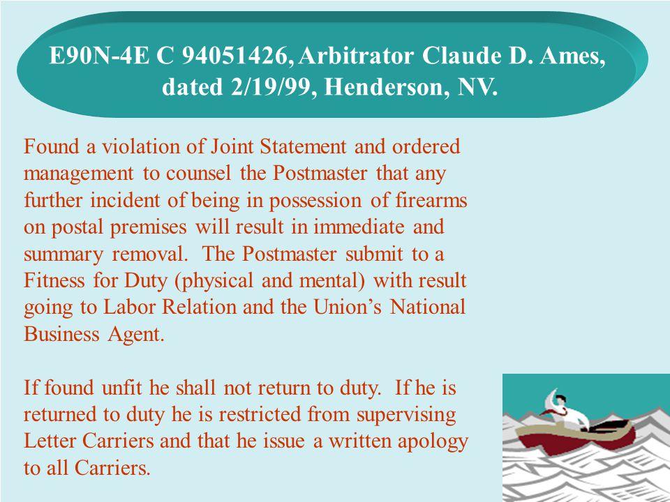 E90N-4E C 94051426, Arbitrator Claude D. Ames,