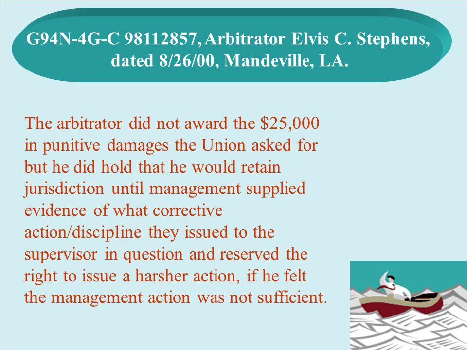 G94N-4G-C 98112857, Arbitrator Elvis C. Stephens,