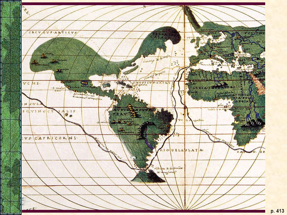 A 1536 Mercator projection map showing the route of Ferdinand Magellan's first circumnavigation of the world.