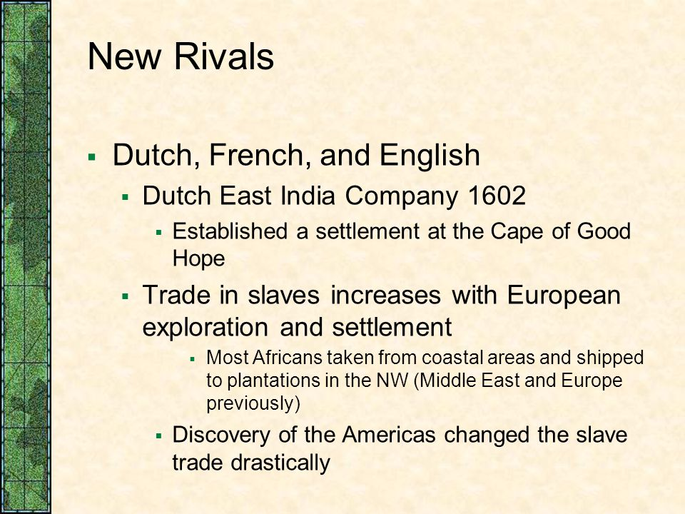 New Rivals Dutch, French, and English Dutch East India Company 1602
