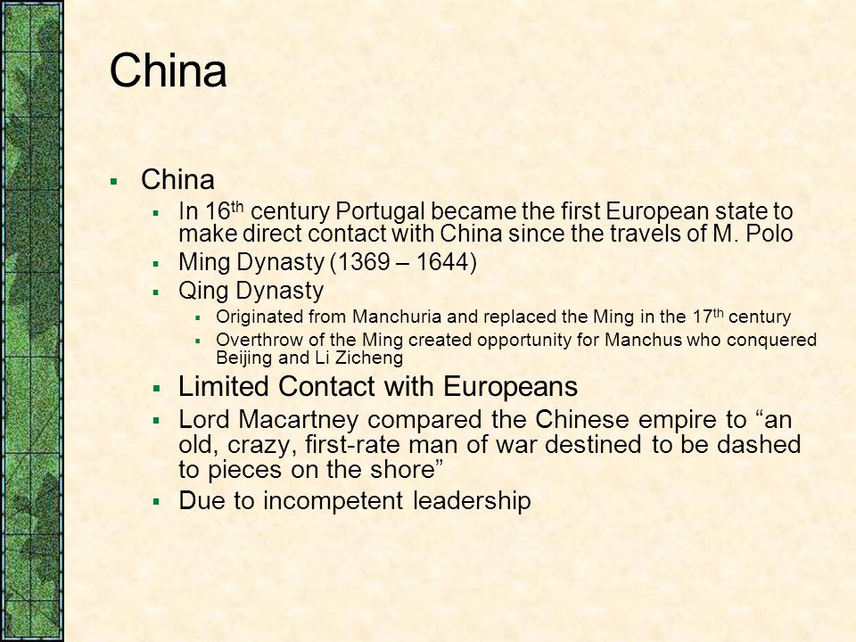 China China Limited Contact with Europeans