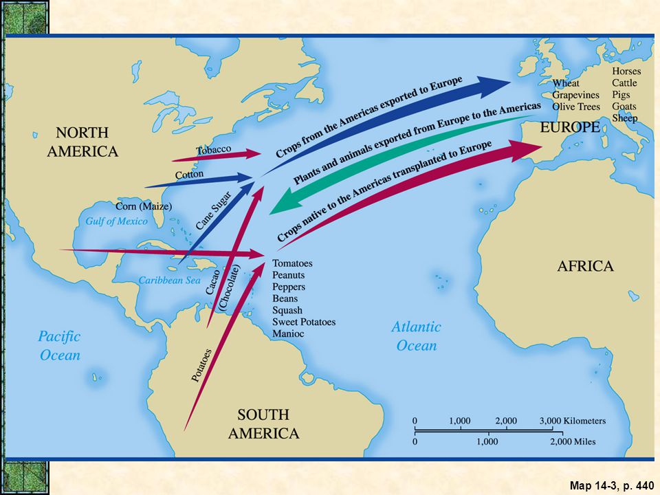 Map 14.3: The Columbian Exchange.