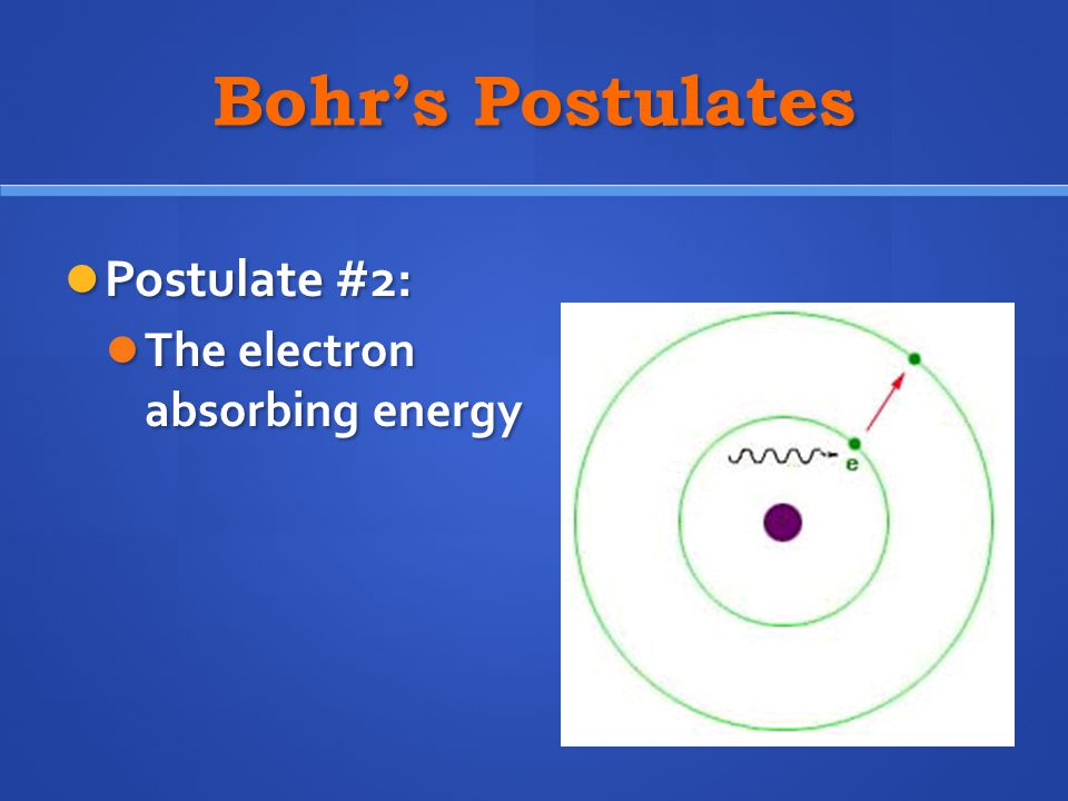 Bohr's Postulates Postulate #2: The electron absorbing energy