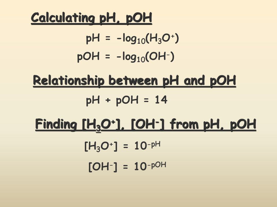 Relationship between pH and pOH