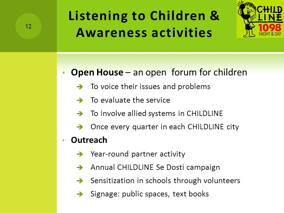 Listening to Children & Awareness activities