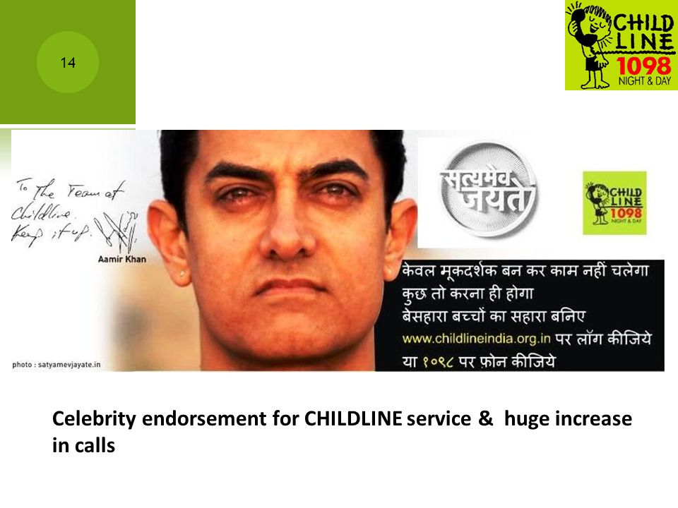 Celebrity endorsement for CHILDLINE service & huge increase in calls