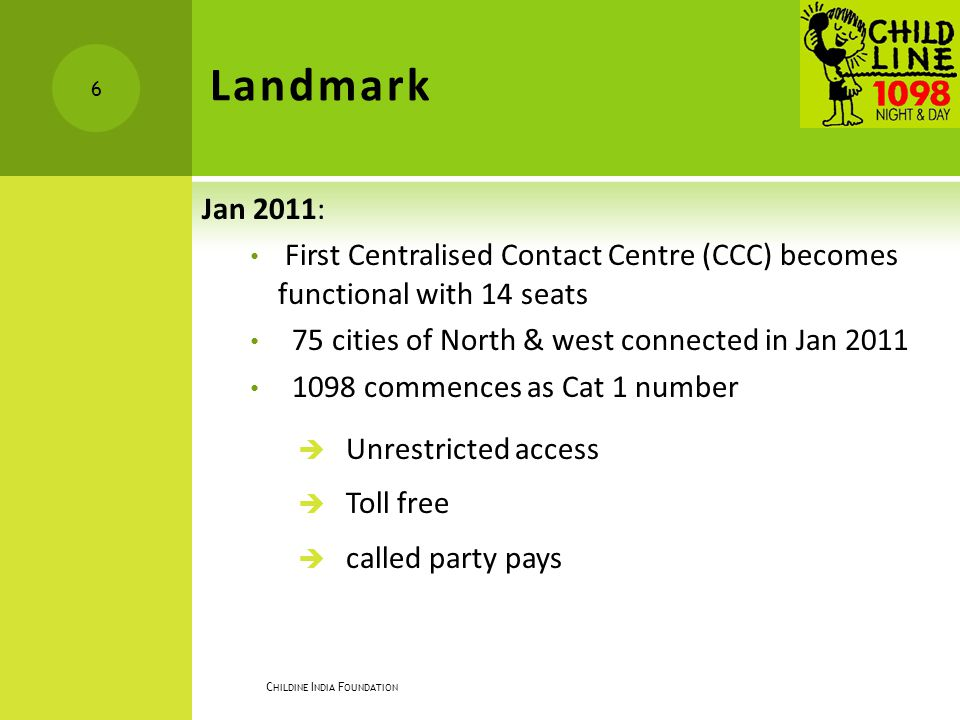 Landmark Jan 2011: First Centralised Contact Centre (CCC) becomes functional with 14 seats. 75 cities of North & west connected in Jan 2011.