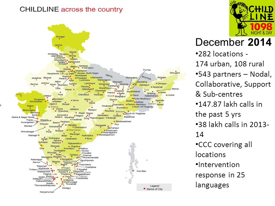 December 2014 282 locations - 174 urban, 108 rural