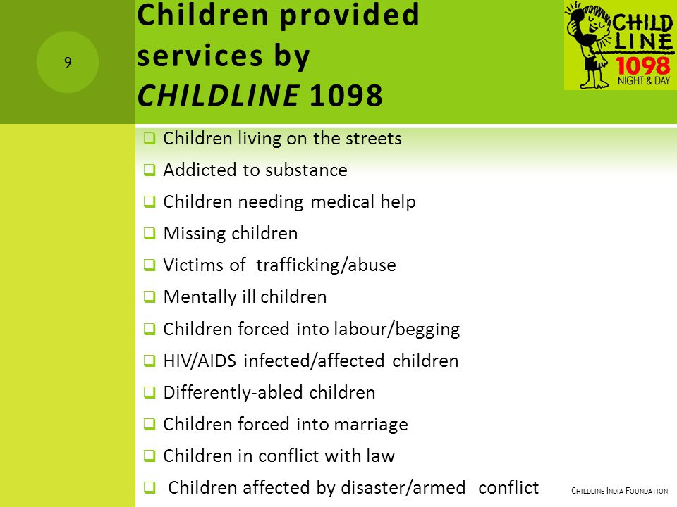 Children provided services by CHILDLINE 1098